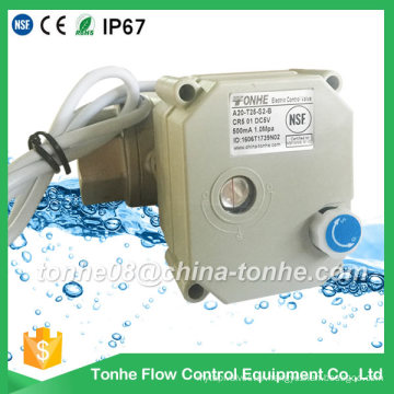 """Dn25 1"""" NSF61 2 Wire DC12V 24V with Manual Override Ss304 Motorized Electric Water Ball Valve"""
