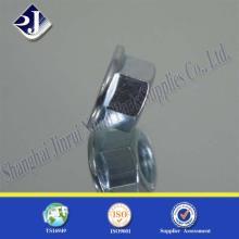 Porca de flange hexagonal com zinco azul