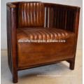 Industrial Leather Chair Mango Wood Base Antique Finish