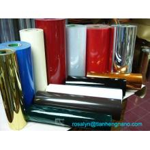 Película plástica de PVC metálico de ouro e prata moldada a vácuo para bandejas