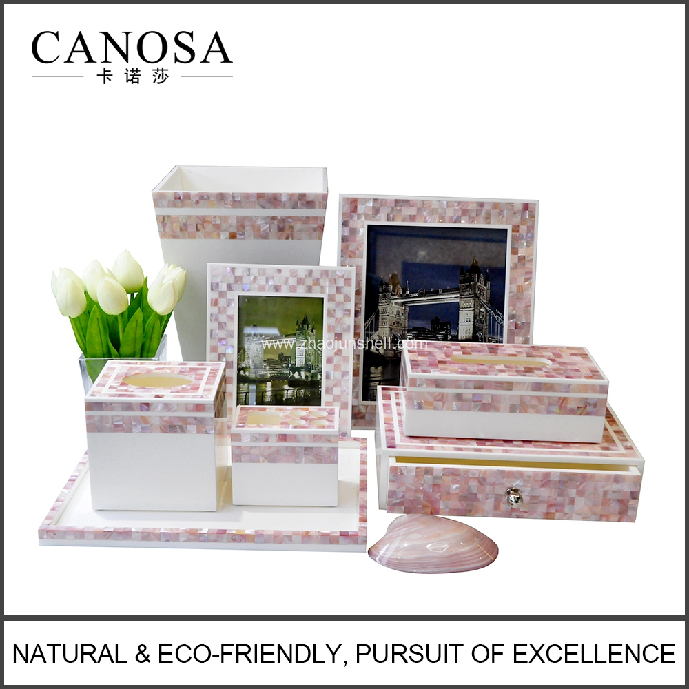Shell Mosaic Amenity Set with American Pink Shell