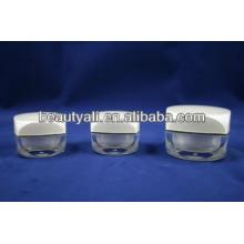 Nwe Square Shape Luxo Acrílico Creme jarros para embalagem de cosméticos