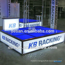 Quick set up platform, raised floor for exhibition, portable glass platform stage for trade show