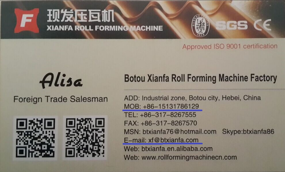 Botou Xianfa roll forming machine Factory