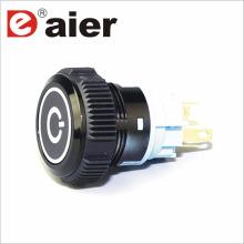 Daier power symbol interruptor de botão de pressão de plástico à prova d 'água