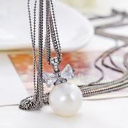 2015 moda özel çok katmanlı zincir inci kolye Metal