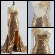 One Shoulder Long Sleeve Gold Sequins Evening Dress See Through Back High Split Evening Gown