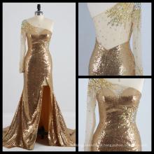 Одно Плечо С Длинным Рукавом Золото Вечернее Платье Видеть Сквозь Спину Высокого Сплит Вечернее Платье