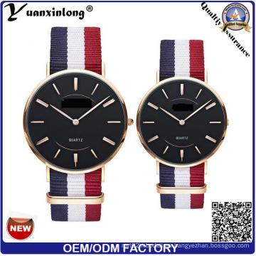 Yxl-619 personalizado reloj delgado amante de los pares de cuarzo / acero inoxidable de vuelta reloj de pulsera unisex