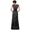 Kate Kasin Cap Sleeve Floral Lace Black Long Evening Dress KK000215-1