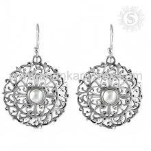 Indian Scrumptious Pearl Gemstone Earring 925 Sterling Silver Atacado Jóias Handmade On-line Jóias De Prata
