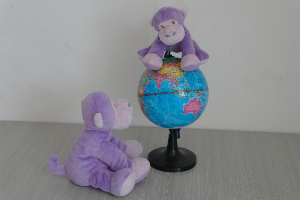 Mother and child purple naughty monkey plush toys