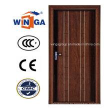 Puerta blindada de chapa de madera de MDF de acero de seguridad de diseño simple (W-A18)