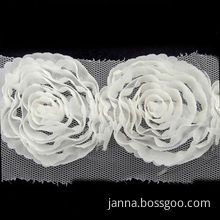 Flower Lace Trim, Woven Tulle Flower, 6cm Wide, Available in Various Colors