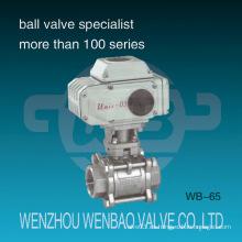 Válvula de bola motorizada de 3 piezas 316 con actuador eléctrico
