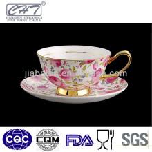 Bone China ouro borda copos de café antigo e pires