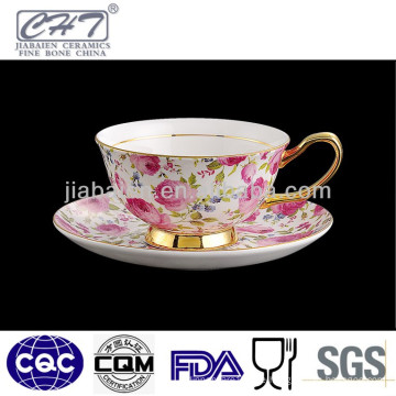Bone China Gold Felge antike Kaffeetassen und Untertassen