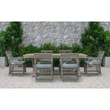 Design inspirado da natureza Pátio Set de jantar de jardim Móveis de vime de poli retângulo