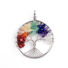 Charmra 7 Chakra Piedra Redonda Pendulum Silver Plated Tree of Life Colgante Collar