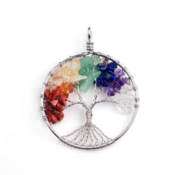 Charm 7 Chakra Stone Round Pendulum Silver Plated Tree of Life Pendant Necklace