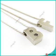 Silber Plain Slide Charms Halskette Buchstaben (FN16041814)