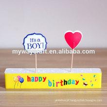 Decoração de festa de aniversário Bolo de aniversário Bolo de papel topper de design de laminação brilhante impressa