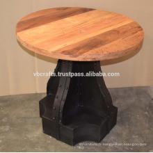 Table ronde à base de métal à base de métal industriel recyclé