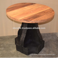 Industrial Metal Riveted Base Recycle Wood Top Table