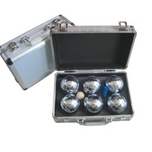Boule-Boccia-Ball-Set mit Metall-Etui
