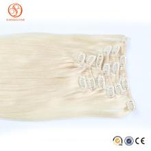 Unprocessed Wholesale Cheapest Human Hair Pieces Blonde Hair Full Head Cheap Colored Clip in Hair