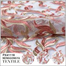 Tela de encaje de malla suave de alta calidad con bordado
