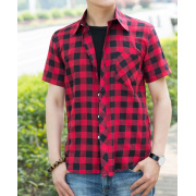 Camisa dos homens fio tingido de manga curta xadrez