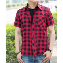 Men's yarn dyed short sleeve plaid shirt