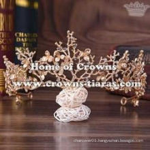 Alloy Wedding Tiaras In Gold Color With Dargonfly/Flowers
