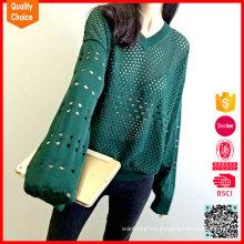 Diseños de suéter de pointelle patrón de punto de manga larga de moda de las mujeres