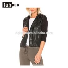 mujeres sudaderas con capucha de cuero negro pu hoodies abrigo
