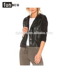 femmes en cuir hoodies veste noir pu hoodies manteau
