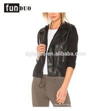 women leather hoodies jacket black pu hoodies coat