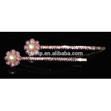 Fashion Metal Floral Design Colorful Rhinestone bobby pin Crystal Barrettes