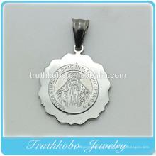 Brillante Pulido Moda Joyería Religiosa Acero Inoxidable Virgen María Medalla Redonda Collar Colgante Medallón Joyería