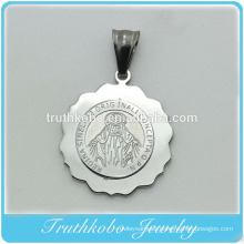 Shiny Polishing Fashion Religious Jewelry Stainless Steel Virgin Mary Round Medal Necklace Pendant Medallion Jewelry