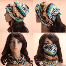 Lady Fashion Printed Cotton Knitted Winter Warm Ski Hats (YKY3138-2)