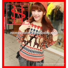 Jacquard christmas knitting patterns sweater with deer