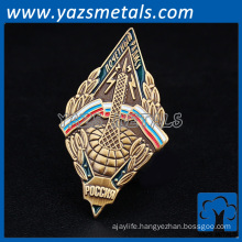 Gold plating 35mm triangle sharp Customized logo lapel pin