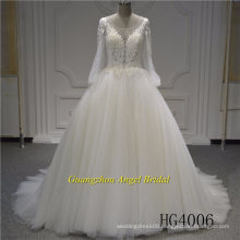 Fatory Price Long Sleeve Top Beading Wedding Dress Bridal Gown