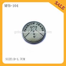 MFB104 Logotipo de encargo del latón antiguo logotipo grabado botón de los pantalones vaqueros del metal para las chaquetas