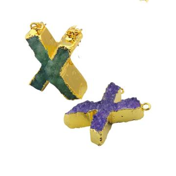 Natural Druzy Crystal Alphabet Letter X Pendant Plated Gold