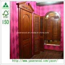 Porte de porte extérieure moderne 100% Porte de bois massif de luxe