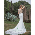 Latest decent wedding dress design exquisite beading decoration bridal dress lace hemline