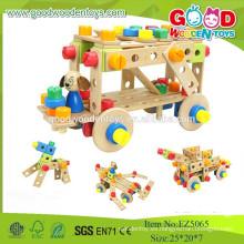 2015 Los juguetes de madera educativos más nuevos del diseño fijaron el coche de madera de DIY de la tuerca cambiable de OEM / ODM 92pcs